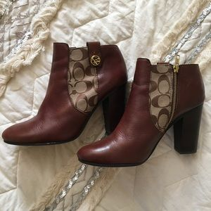 Coach Brown Heeled Ankle Boots